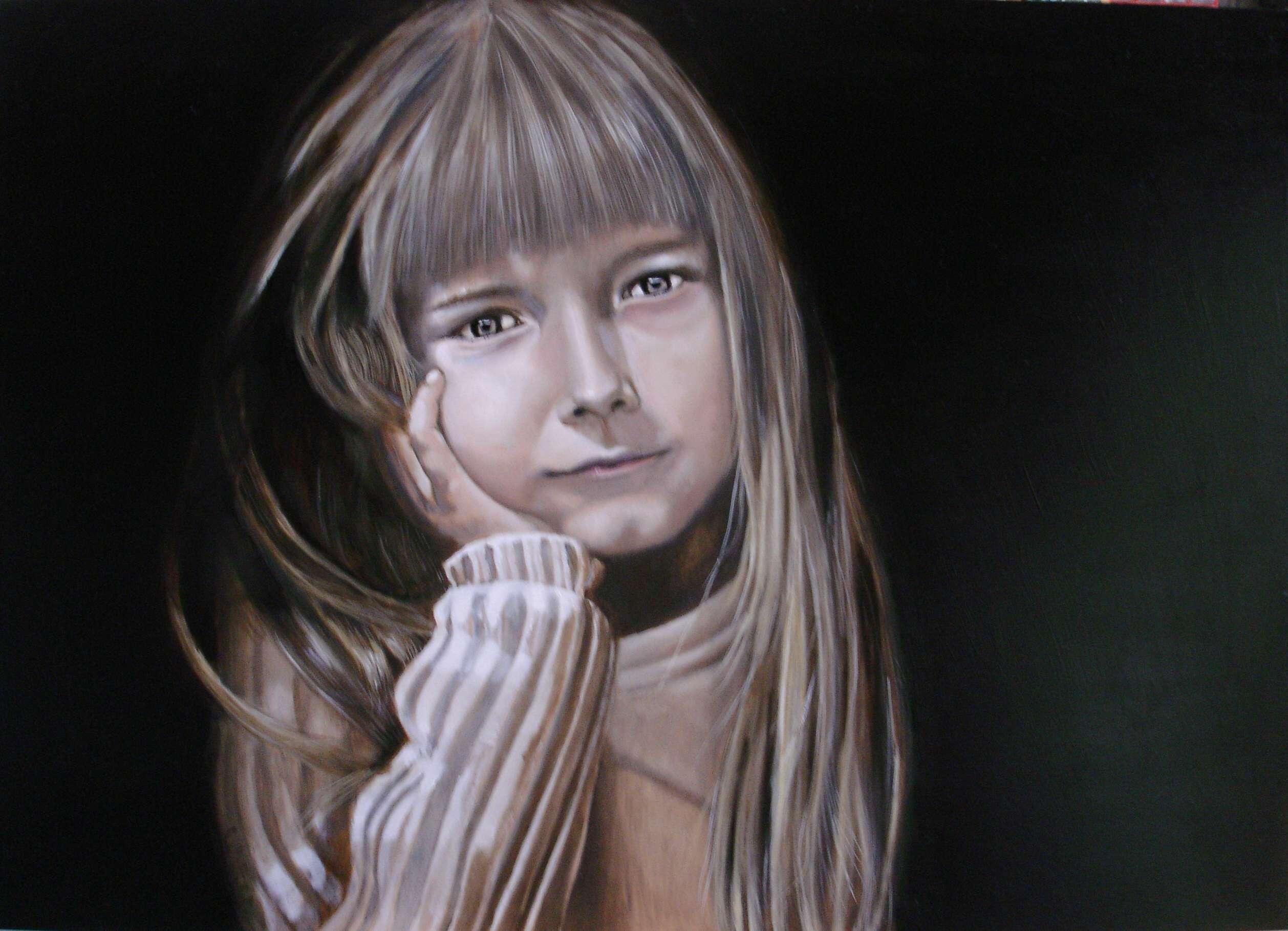 Schilderij portret van een meisje walter te spenke - Schilderij slaapkamer tiener meisje ...